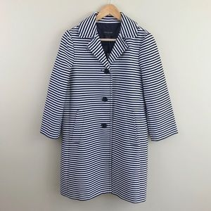 Ann Taylor Shimmer Striped Cropped Sleeve Jacket